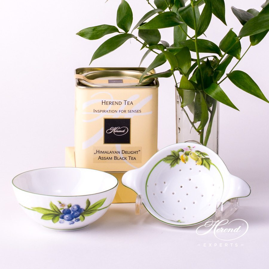 Tea Strainerand Cup 1453-0-00 BAC and 1454-0-00 BAC Berried Fruits decor. Herend porcelain tableware