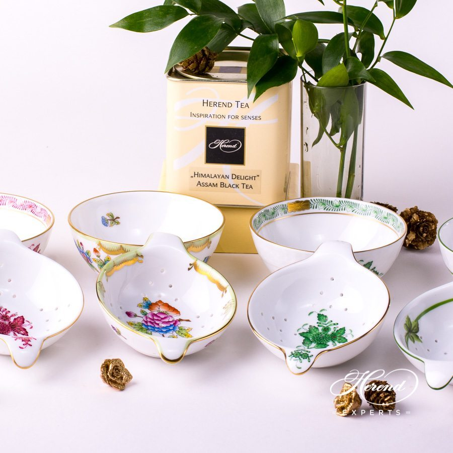 Tea Strainersw. Cups. Herend fine china tableware. Hand painted.