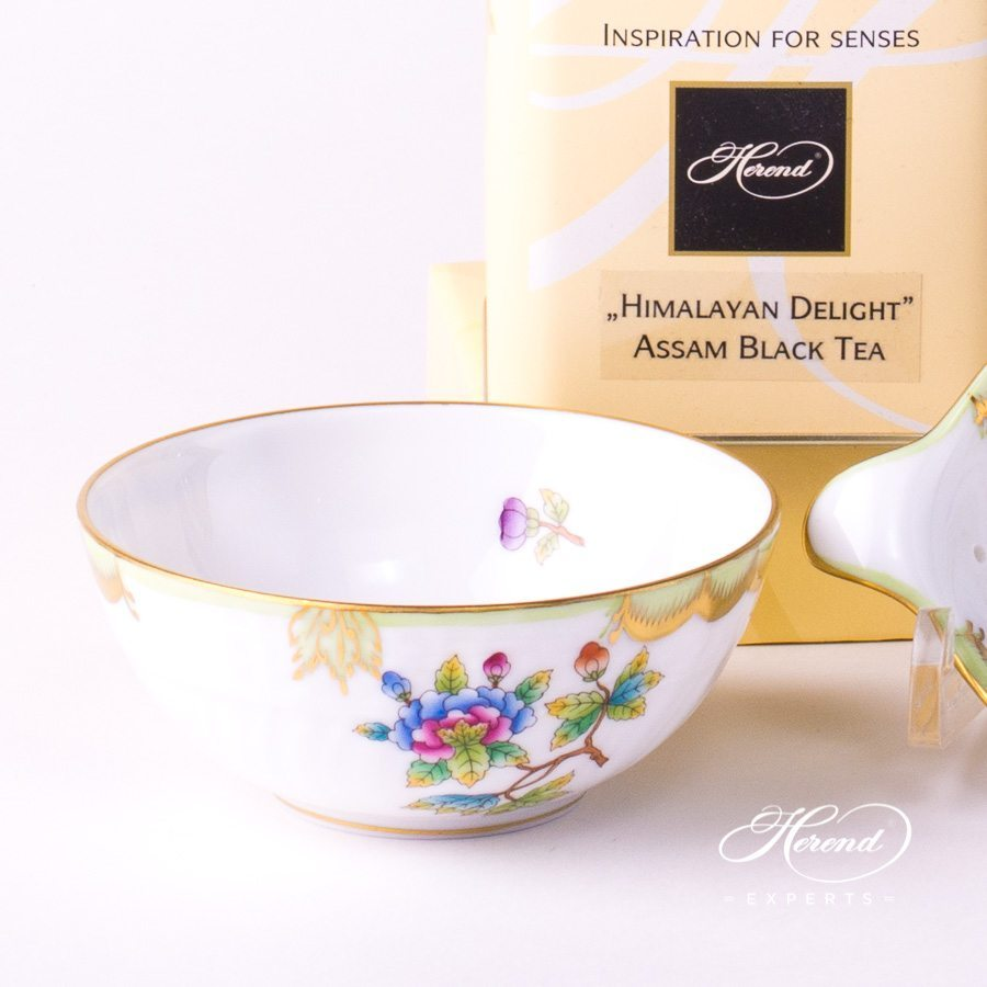 Tea Strainer and Cup 1453-0-00 VBO and 1454-0-00 VBO Queen Victoria decor. Herend porcelain tableware. Hand painted