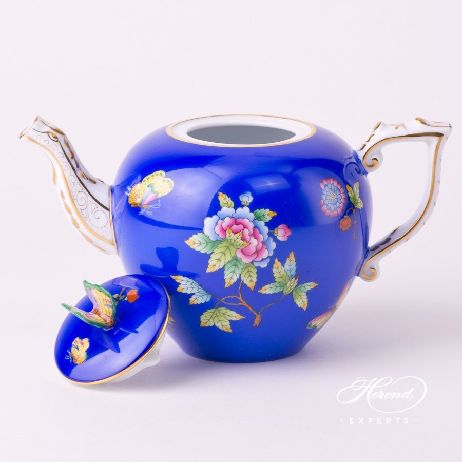 Tea Pot with Butterfly Knob 20606-0-17 VE-FB Queen Victoria Blue decor. Herend porcelain tableware