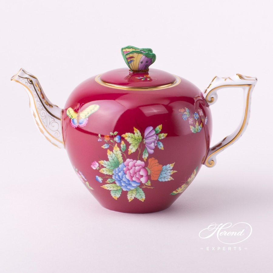 Tea Pot with Butterfly Knob 20606-0-17 VE-FP Queen Victoria Purple decor. Herend porcelain tableware. Hand painted