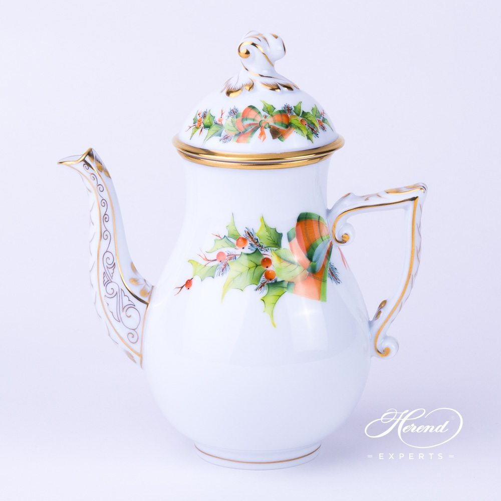 Coffee Pot w. Twisted Knob 20613-0-06 NOEL Christmas pattern. Herend fine china