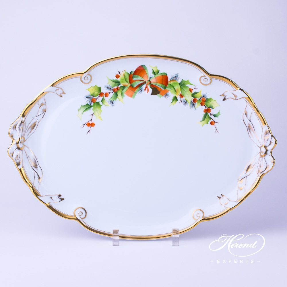 Tray w. Ribbon 20400-0-00 NOEL Christmas pattern. Herend fine china