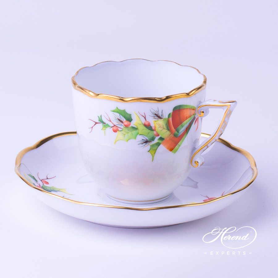 Coffee / Cappuccino Cup w. Saucer 20706-0-00 NOEL Christmas pattern. Herend fine china