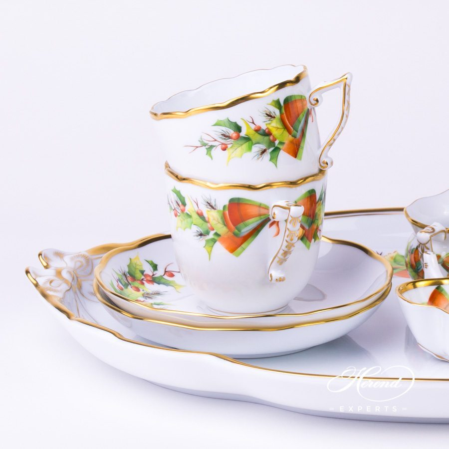 Coffee Set for 2 People w. Ribbon Tray - Herend Christmas NOEL design. Herend fine china