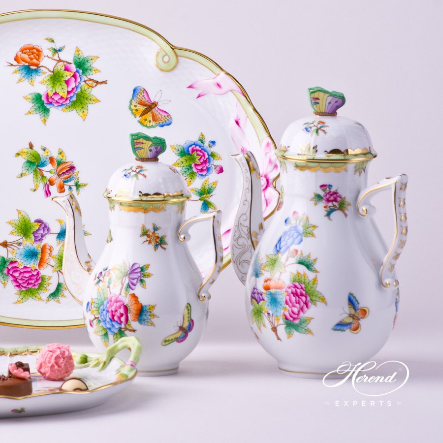 Coffee Pot with Butterfly Knob 612-0-17 VBO Queen Victoria decor. Herend porcelain tableware. Hand painted