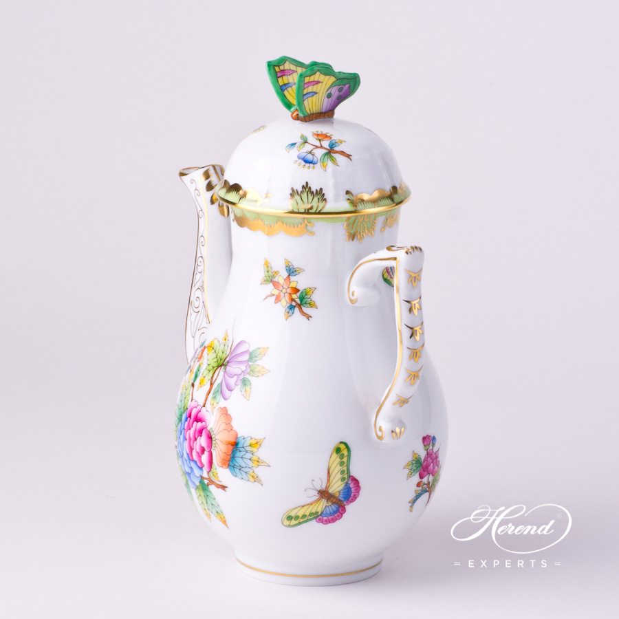 Coffee Pot / EspressoPot withButterfly Knob 614-0-17 VBO Queen Victoria decor. Herend porcelain tableware. Hand painted