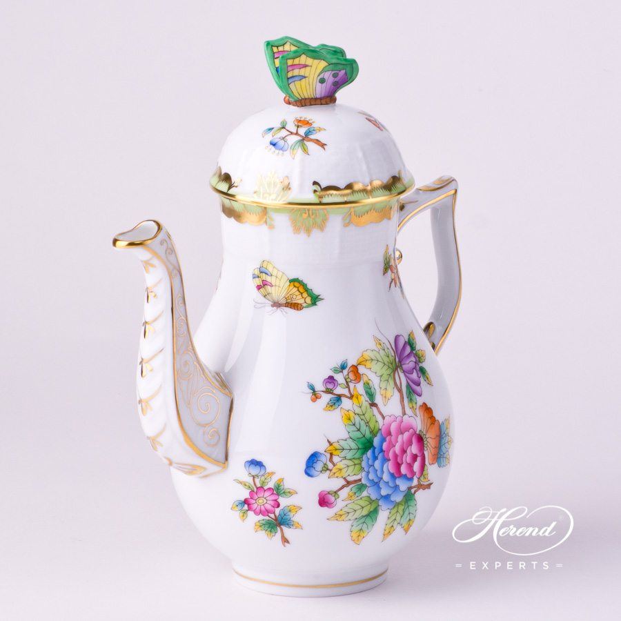 Coffee Pot / EspressoPot w.Butterfly Knob614-0-17 VBO Queen Victoria design. Herend fine china tableware. Hand painted