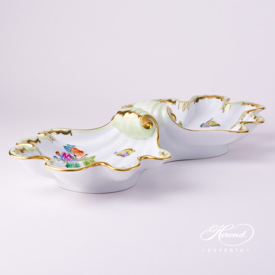 Double Shell 7522-0-00 VBA Queen Victoria design. Herend fine china tableware. Hand painted. Fancy centerpiece
