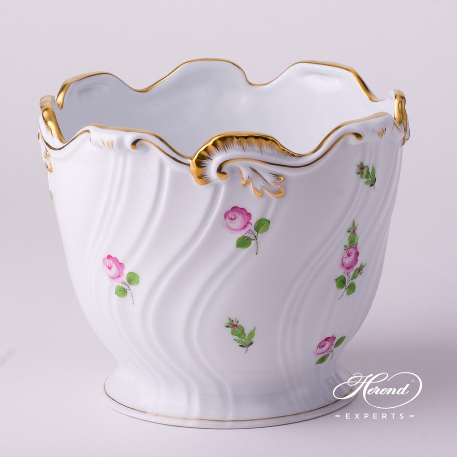 Flower Pot or Fancy Dish 7227-0-00 PR Small Roses decor. Herend porcelain hand painted. Small Roses - Petites Roses flower decor
