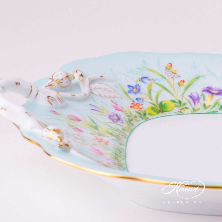 Cake Plate w. Branch Handles 20430-0-00 QS Four Seasons Flower design. Herend fine china hand painted. Luxury item
