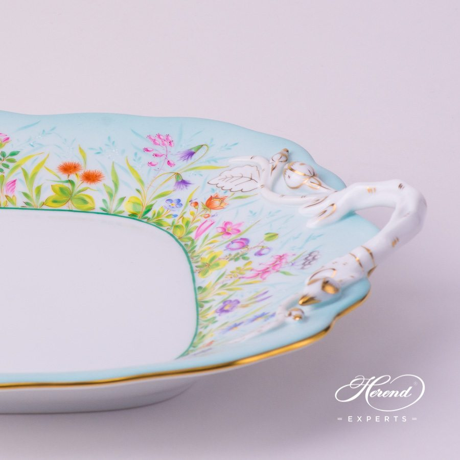 Cake Plate with Branch Handles 20430-0-00 QS Four Seasons decor. Herend porcelain hand painted. Quatre Saisons QS flower decor