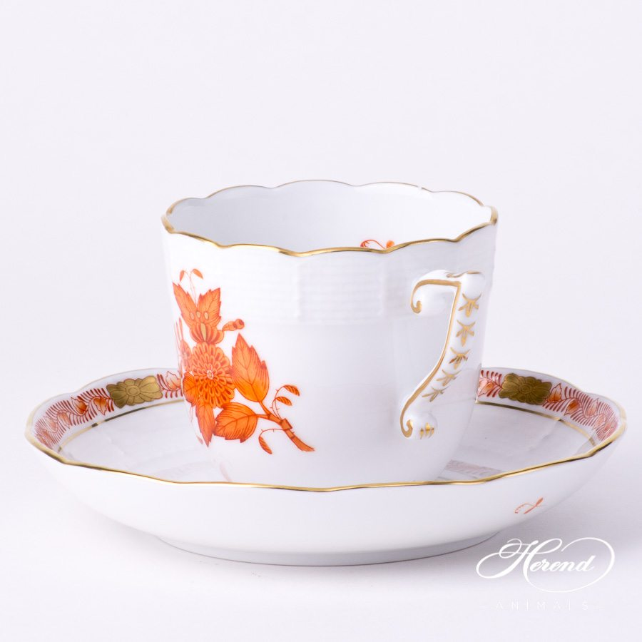 Coffee Cup and Saucer 706-0-00 AOG Chinese Bouquet Rust / Apponyi Orange decor. Herend porcelain tableware. Hand painted
