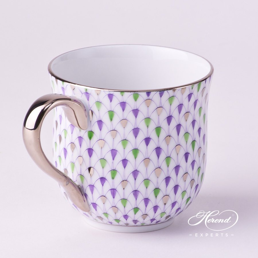 Universal Cup / Breakfast Cup2739-0-00 VH3COL4-PT Special Fish Scale with Platinum decor. Herend porcelain hand painted. Lilac, Green and Platinum Fish Scale