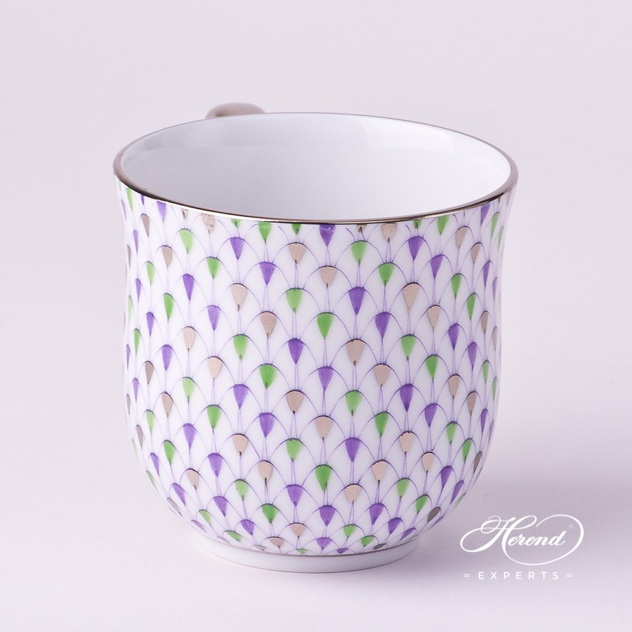 Universal Cup / Breakfast Cup 2739-0-00 VH3COL4-PT Special Fish Scale with Platinum decor. Herend porcelain hand painted. Lilac, Green and Platinum Fish Scale