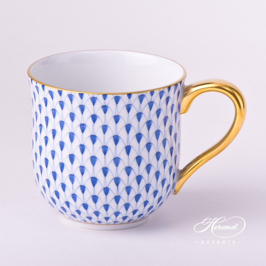 Universal Cup / Breakfast Cup2739-0-00 VHFB Navy BlueFish Scale with Gold decor. Herend porcelain hand painted