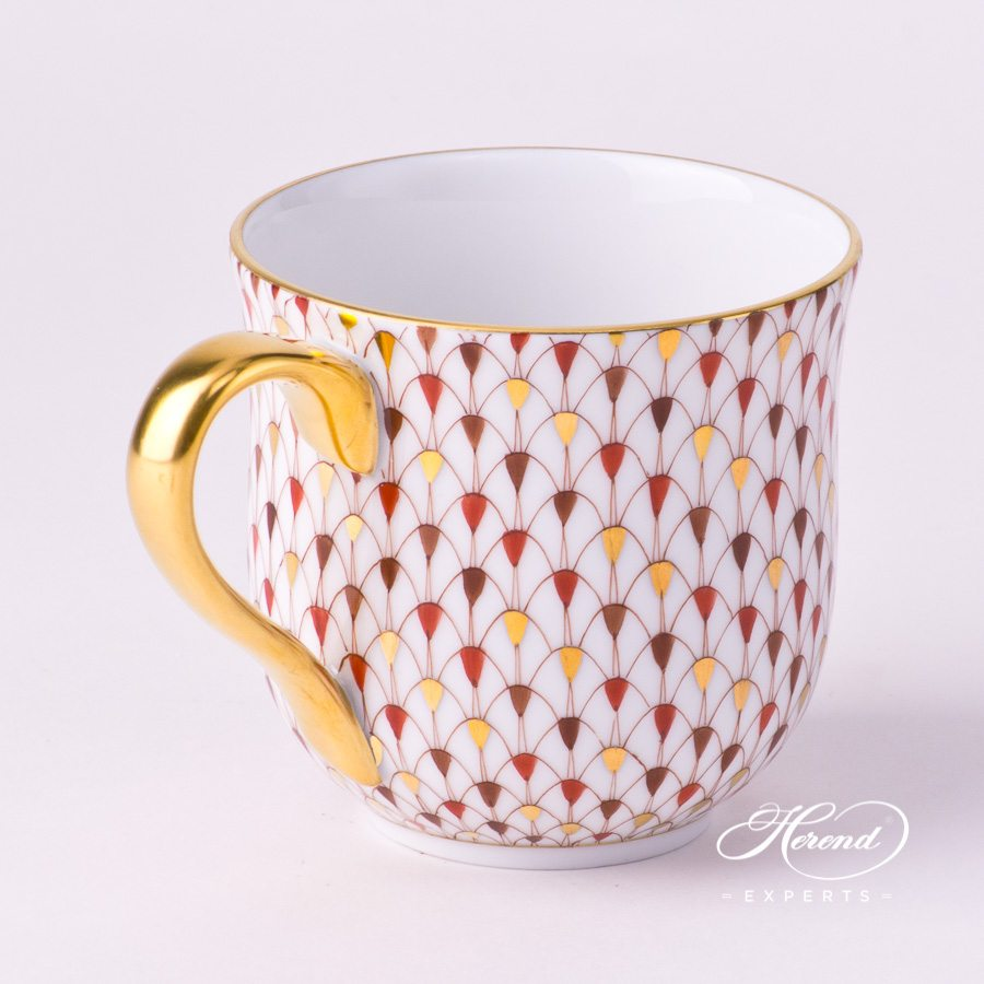 Universal Cup / Breakfast Cup 2739-0-00 VHSP18 Special Fish Scale with Gold decor. Herend porcelain hand painted. Burgundy and Gold Fish Scale