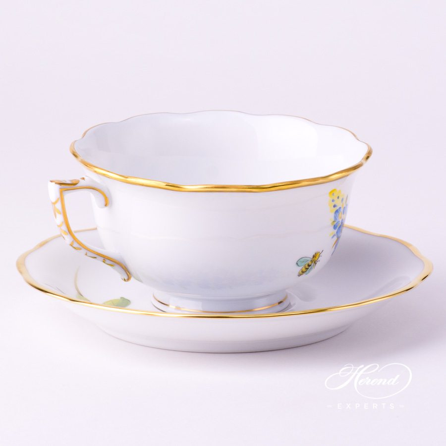 Tea Cup and Saucer 20733-0-00 FLA-BB Texas Bluebonnet Flower pattern. Herend Fine china hand painted. Texas Flower pattern
