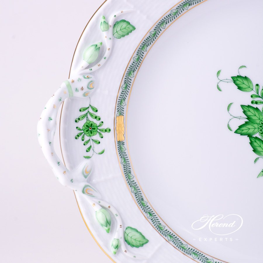 Round Dish 173-0-00 AV Green Chinese Bouquet / Apponyi Green - AV decor. Herend porcelain tableware. Hand painted