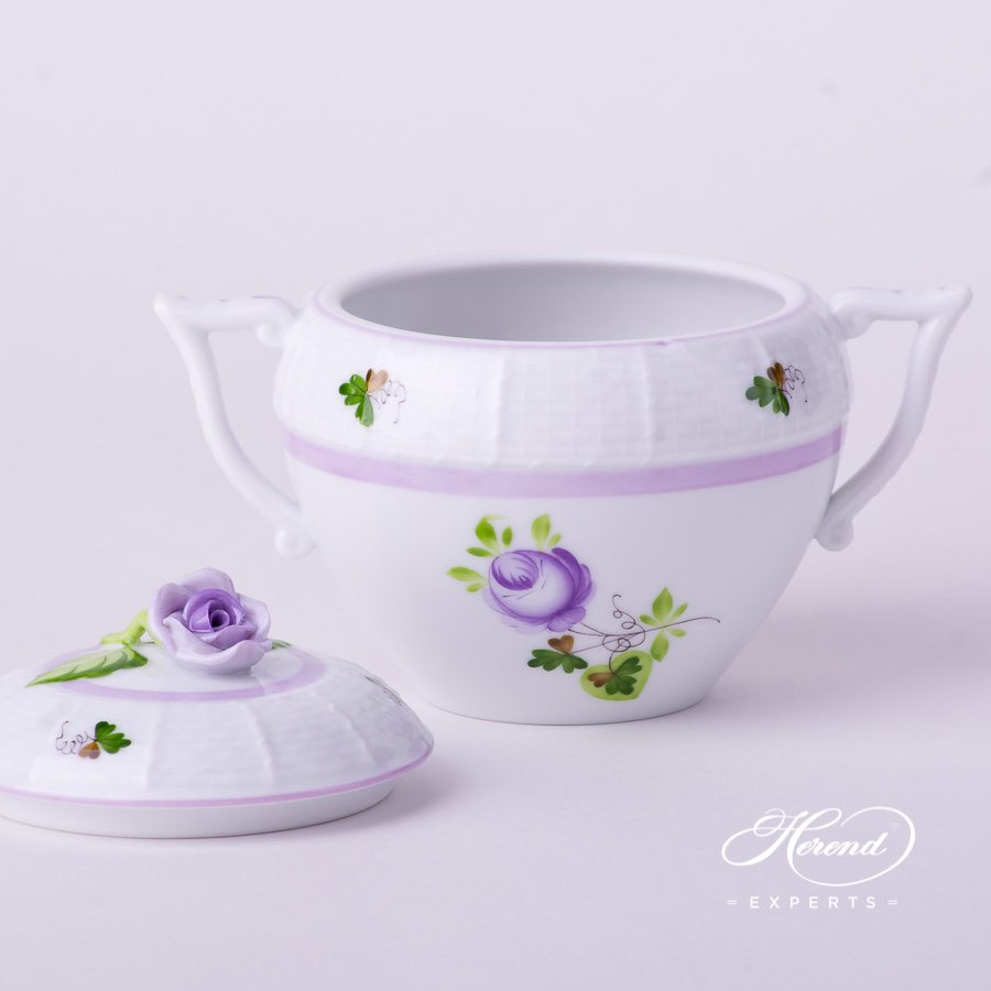 Sugar Basin w. Rose Knob 471-0-09 VRHL Vienna / Viennese Rose Lilac pattern. Herend fine china hand painted