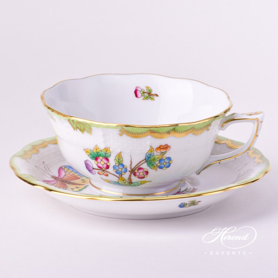 Tea Cup and Saucer 734-0-00 VBO Queen Victoria decor. Herend porcelain tableware. Hand painted