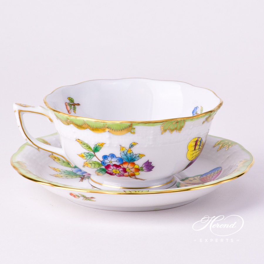 TeaCup and Saucer734-0-00VBO Queen Victoria decor. Herend porcelain tableware. Hand painted