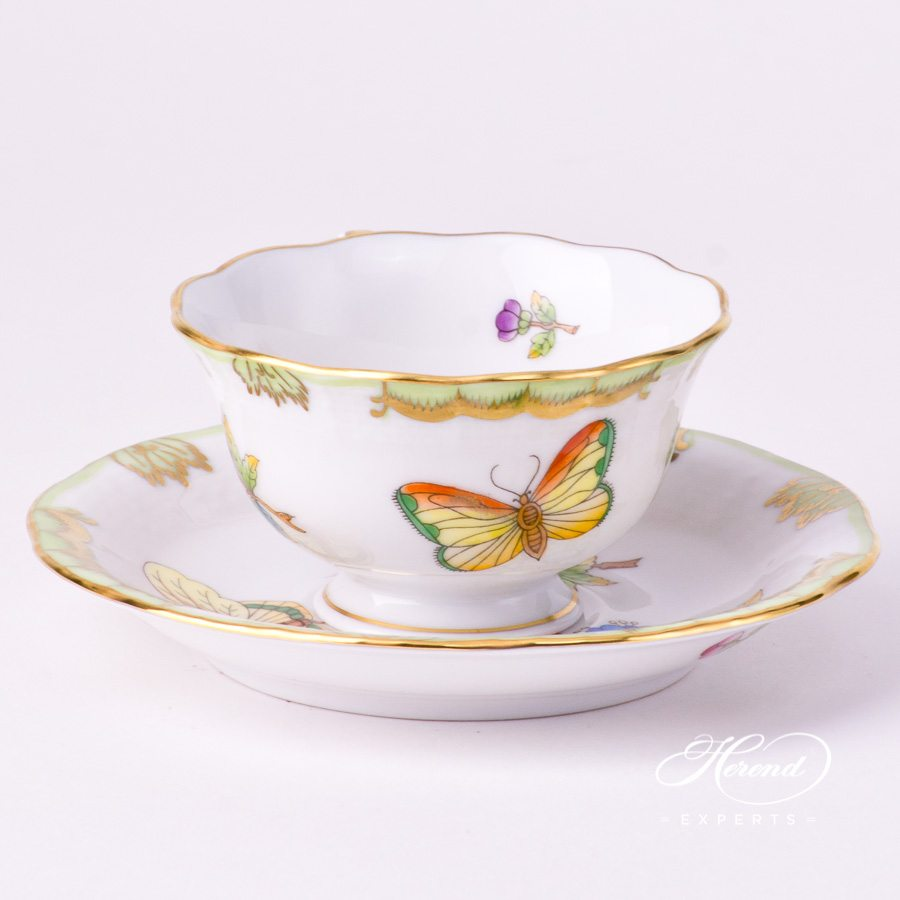 Coffee / Espresso Cup and Saucer 735-0-00 VBO Queen Victoria decor. Herend porcelain tableware. Hand painted