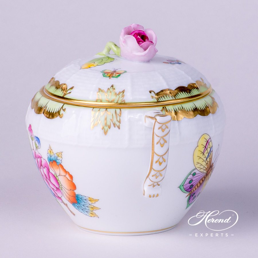 Sugar Basin with Rose Knob 471-0-09 VBO Queen Victoria decor. Herend porcelain tableware. Hand painted