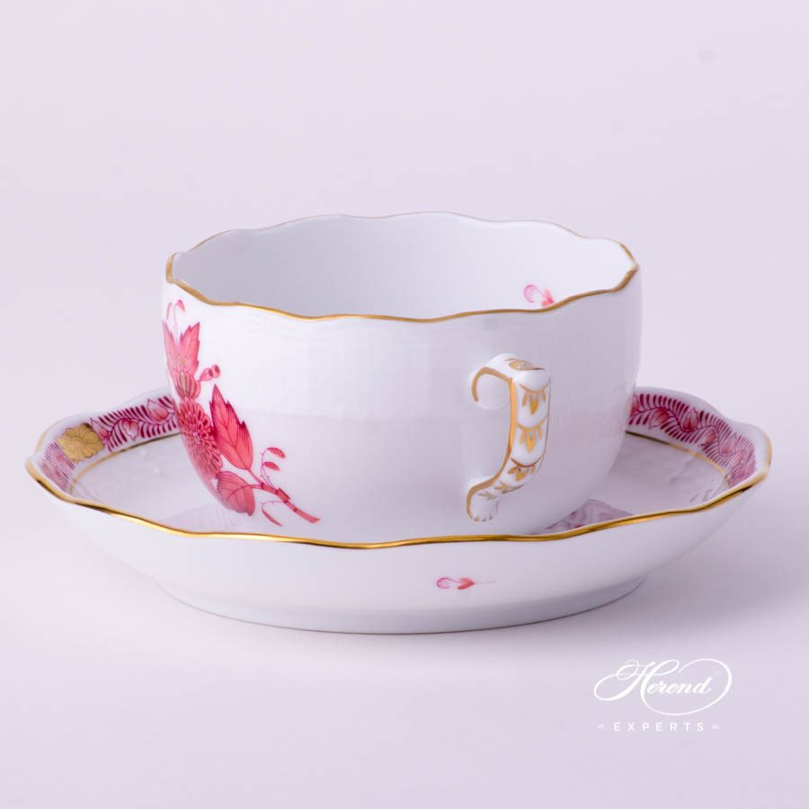 Tea Cup and Saucer 724-0-00 AP2 Chinese Bouquet Light Raspberry / Apponyi Light Purple - AP2 decor. Herend porcelain tableware. Hand painted