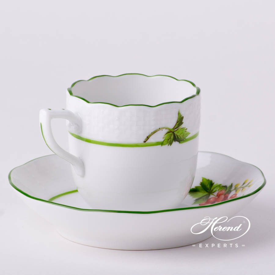 Coffee / Espresso Cup w.Saucer 709-0-00 BAC Berried Fruits pattern. Demitasse. Herend fine china