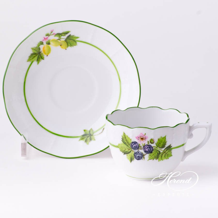 Coffee / Espresso Cup w. Saucer 711-0-00 BAC Berried Fruits pattern. Herend fine china