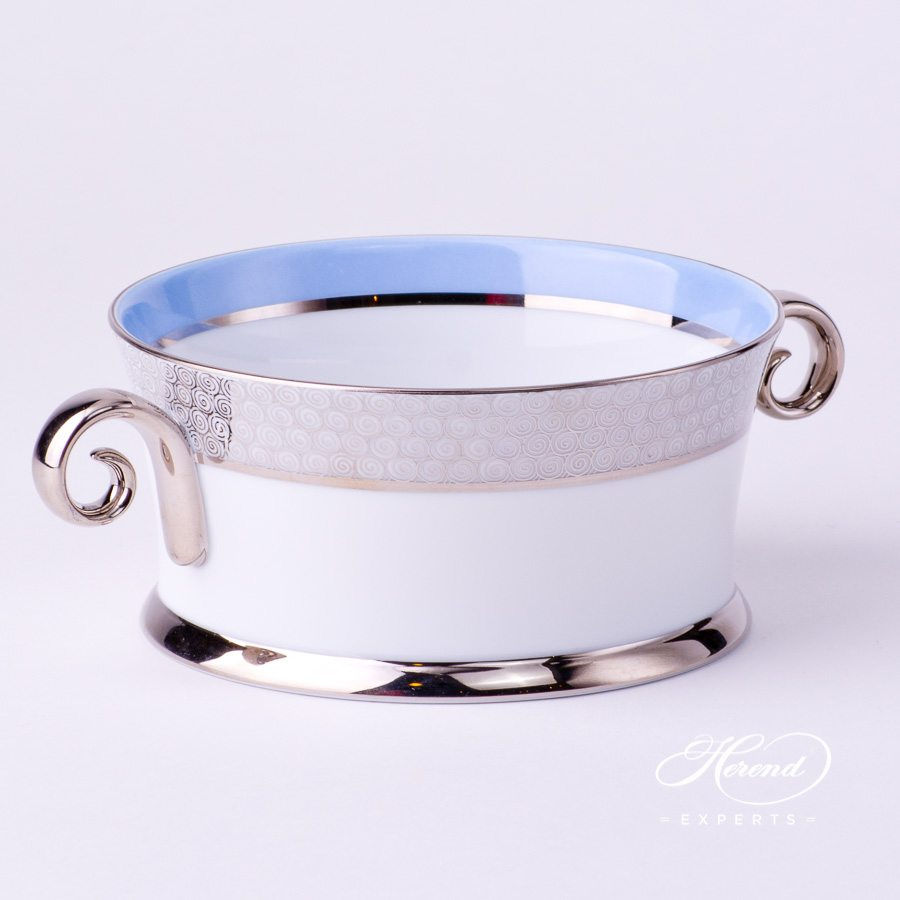 Bowl with Handles 4918-0-00 ORIENTB-PT Blue with Platinum decor. Herend porcelain tableware. Hand painted