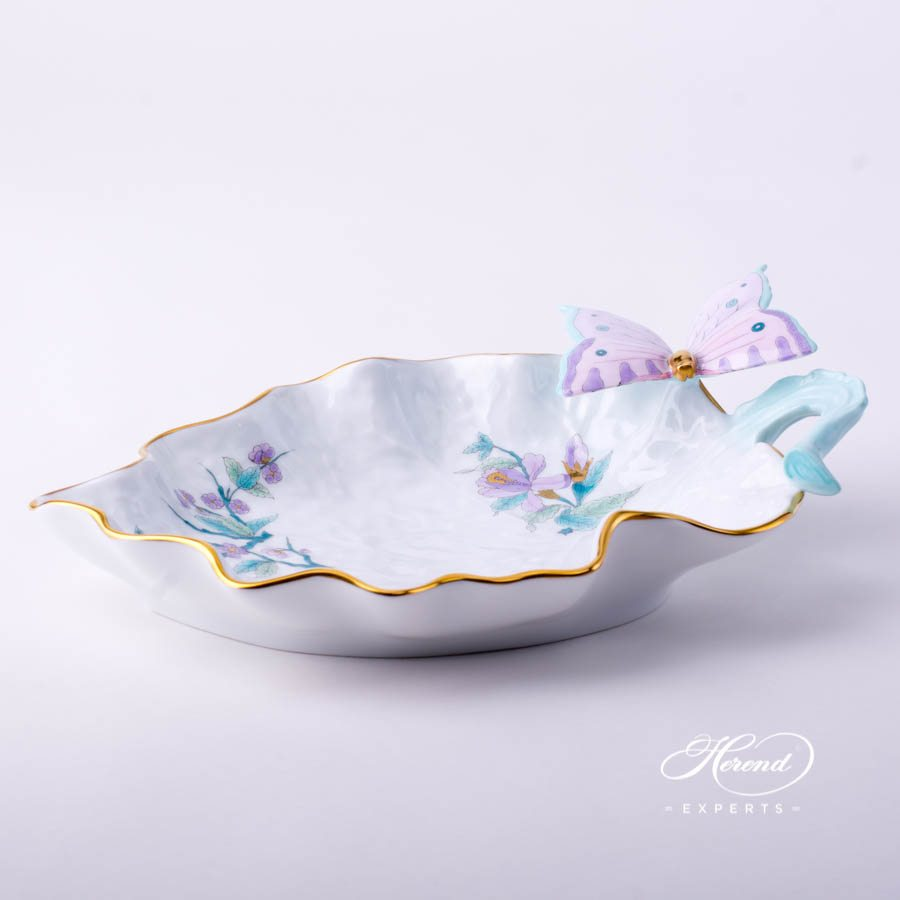 Leaf Dish with Butterfly 7757-0-17 EVICTF2 Royal Garden Turquoise Flower decor. Herend porcelain tableware. Hand painted