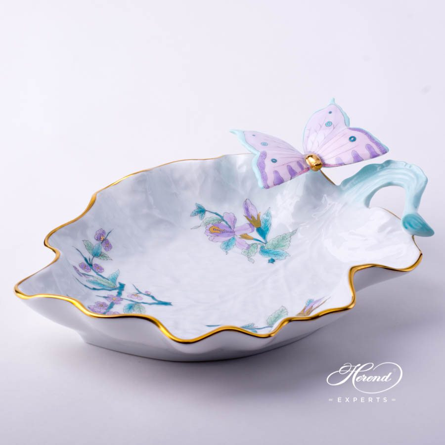 Leaf Dish w. Butterfly 7757-0-17 EVICTF2 Royal Garden Turquoise Flower design. Herend fine china tableware
