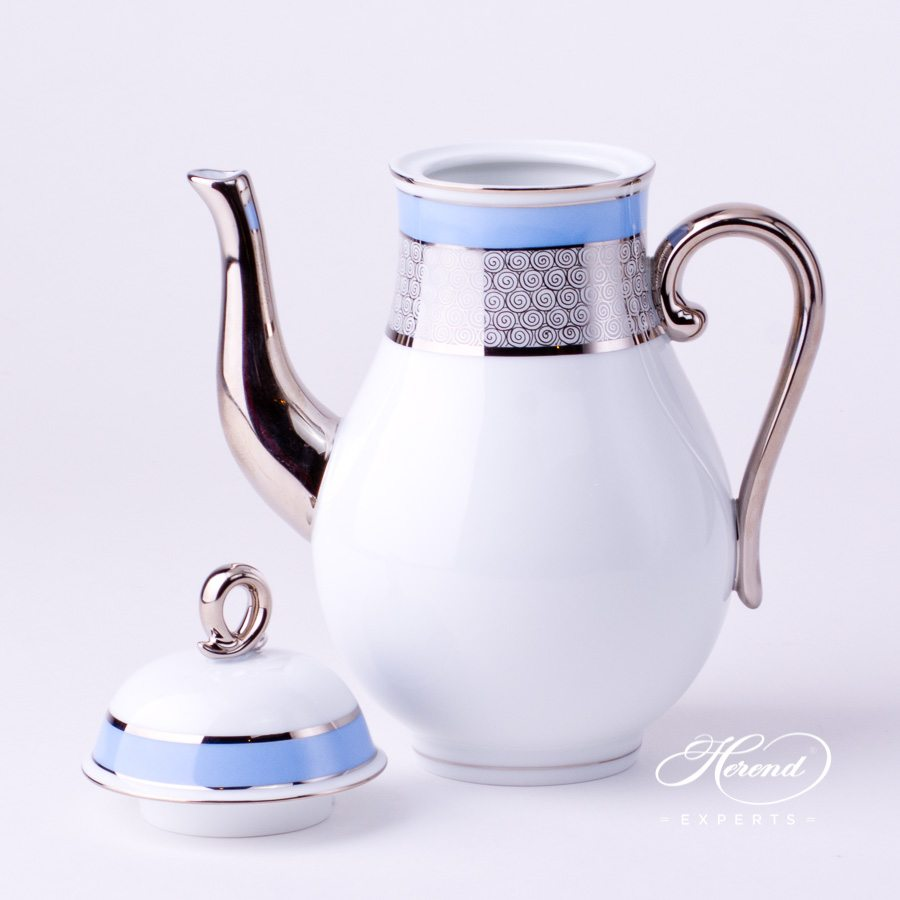 Coffee Pot with Loop Knob2613-0-13 ORIENTB-PT Blue with Platinum decor. Herend porcelain tableware. Hand painted