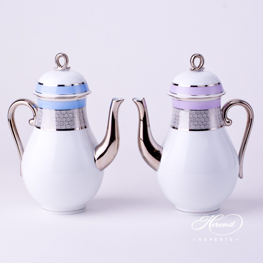 Coffee Pot with Loop Knob2613-0-13 ORIENTB-PT Blue and ORIENTL-PT Lilac with Platinum decors. Herend porcelain tableware. Hand painted