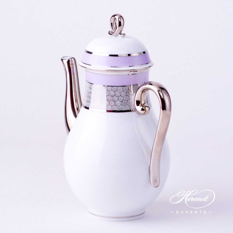 Coffee Pot with Loop Knob 2613-0-13 ORIENTL-PT Lilac with Platinum decor. Herend porcelain tableware. Hand painted
