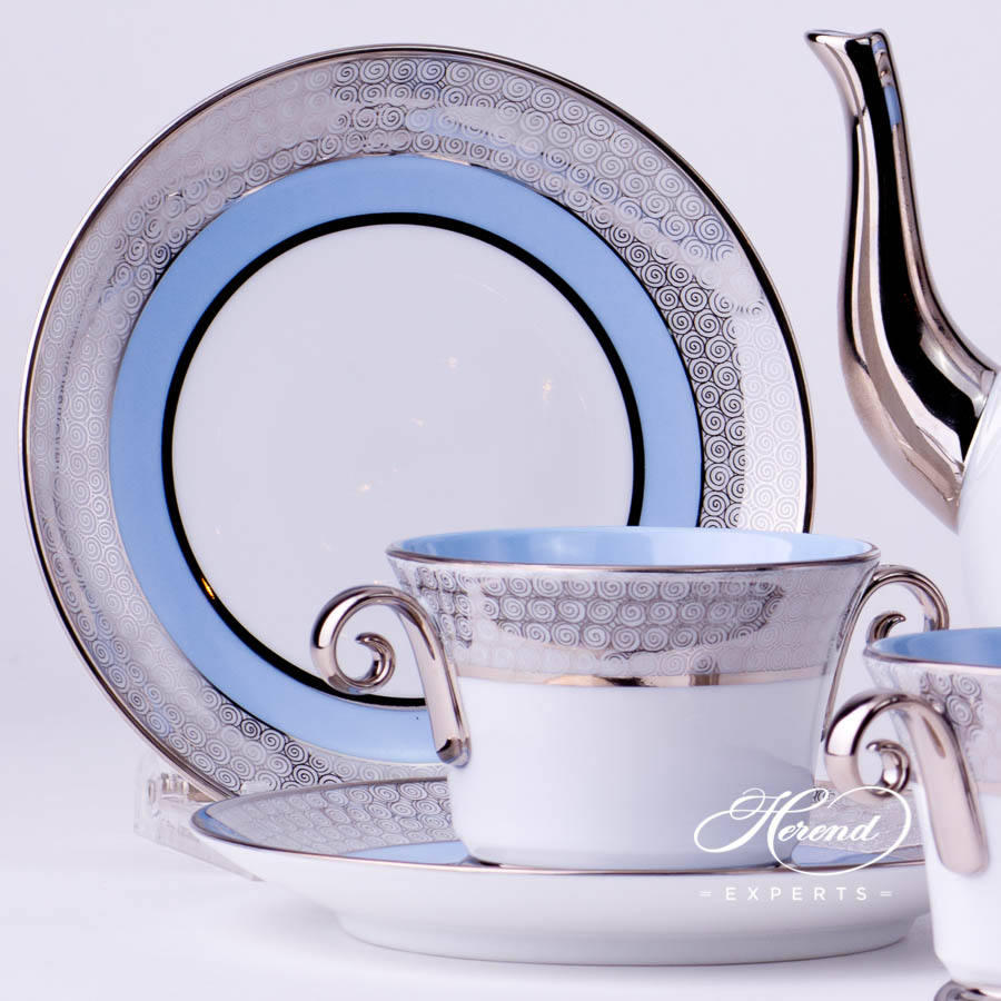Coffee Set for 4 Persons - Herend Orient Blue with Platinum decor. Herend porcelain tableware. Hand painted