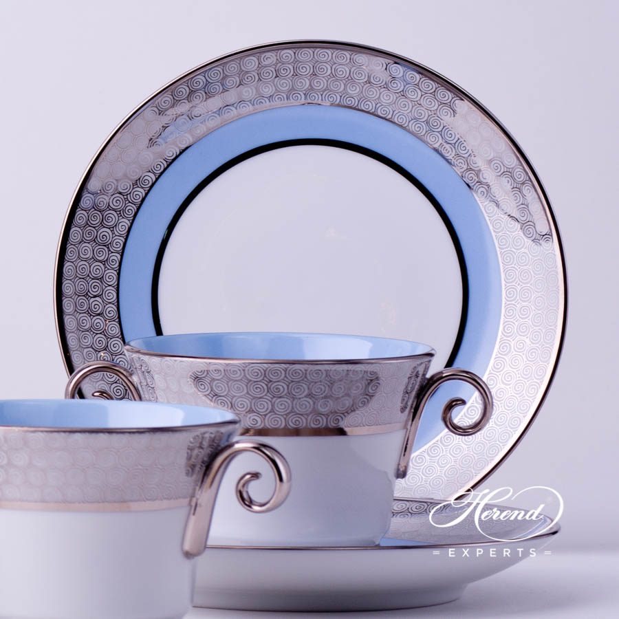 Coffee Set for 4 Persons- Herend Orient Blue with Platinum decor. Herend porcelain tableware. Hand painted