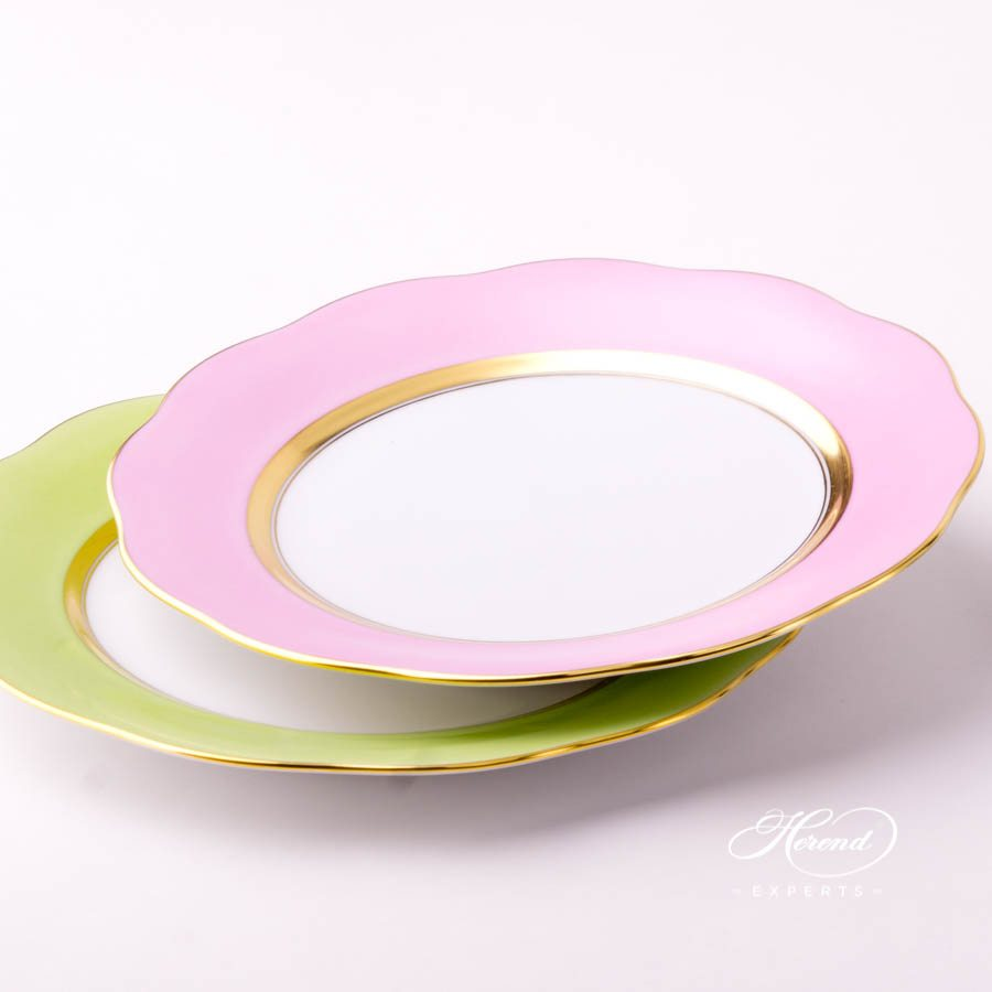 Dessert Plate 20517-0-00 CP6 Pink and CV1 Light Green monochrome decors. Herend porcelain tableware. Handpainted