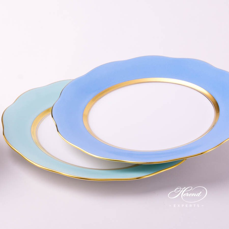 Dessert Plate 20517-0-00 CTQ1 Turquoise and CB1 Light Blue monochrome decors. Herend porcelain tableware. Handpainted