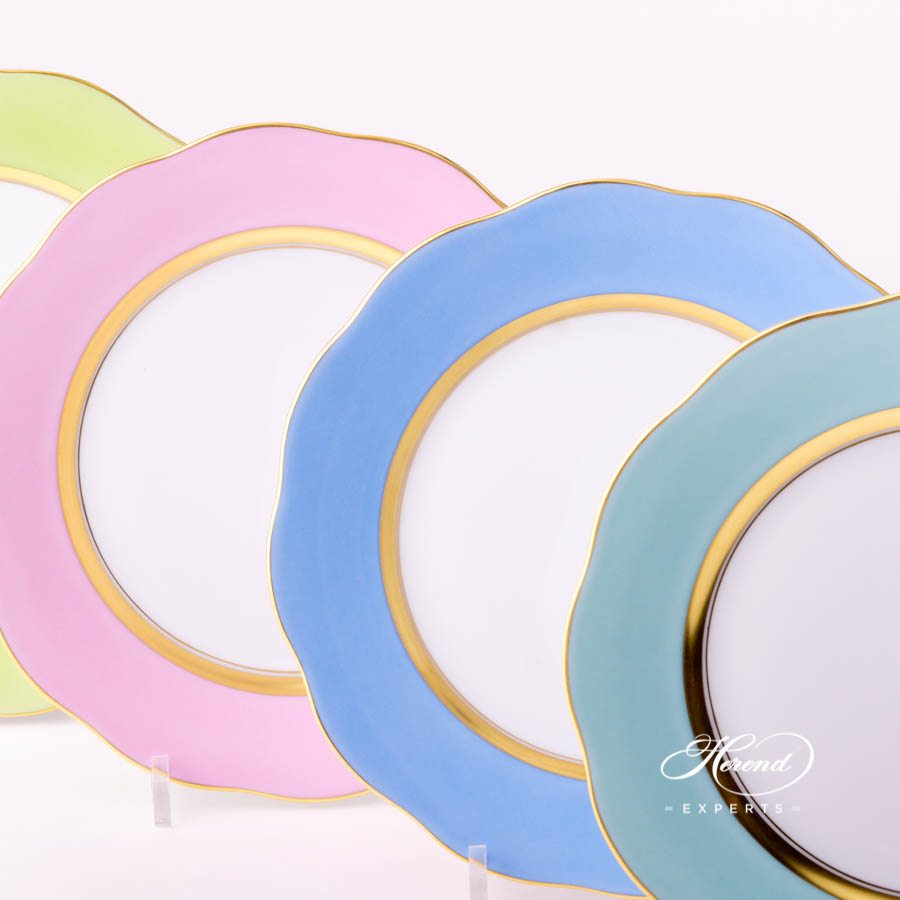 Dessert Plate20517-0-00 Turquoise - Light Blue - Pink and Light Green monochrome decors. Herend porcelain tableware. Handpainted