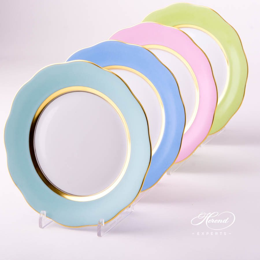 Dessert Plate 20517-0-00 Turquoise - Light Blue - Pink and Light Green monochrome decors. Herend porcelain tableware. Handpainted