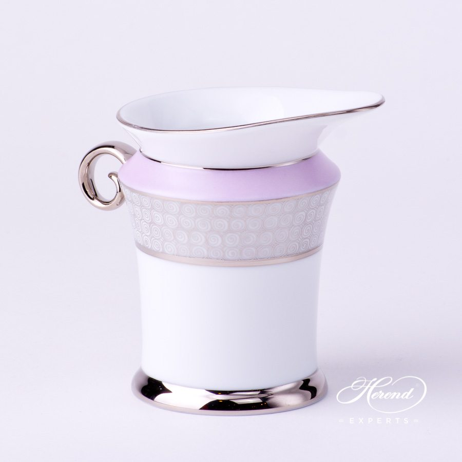 Milk Jug or Creamer 4920-0-00 ORIENTL-PT Lilac with Platinum decor. Herend porcelain tableware. Hand painted