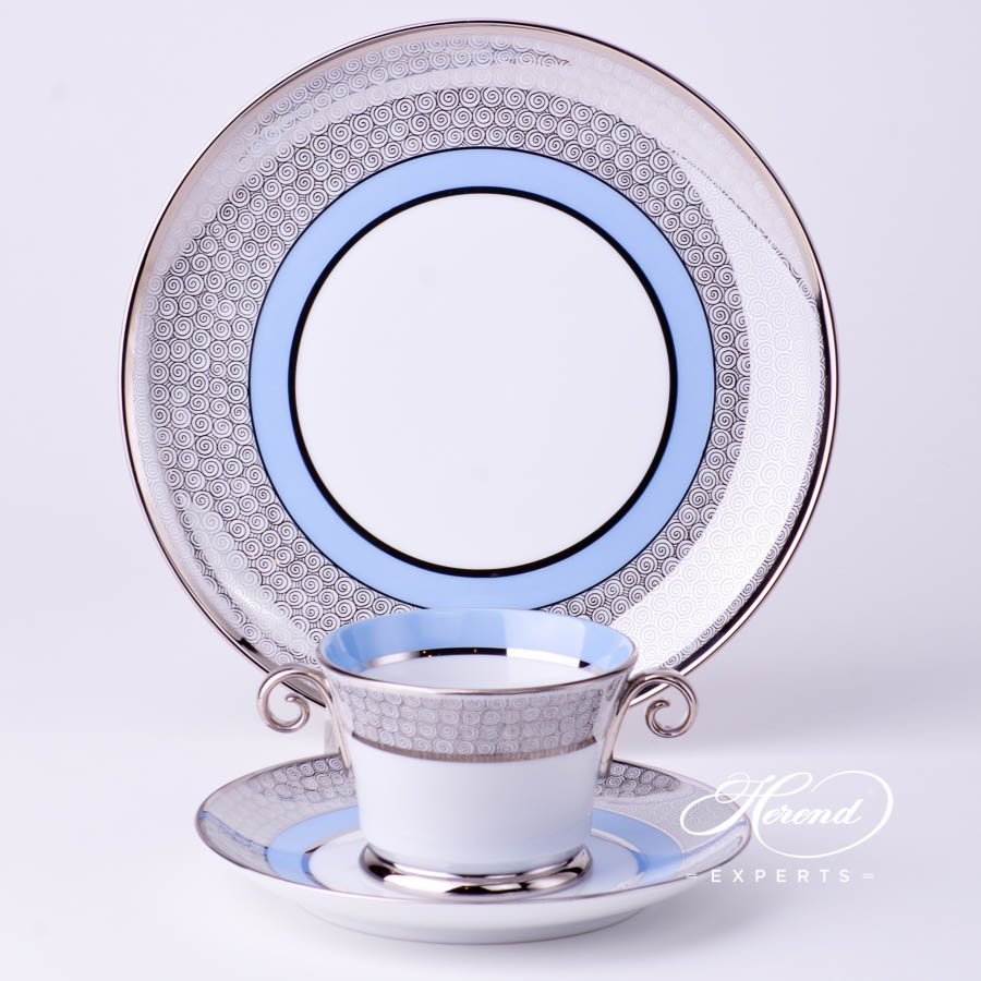 Mini Tea / Coffee Set 4919-0-00 ORIENTB-PT Orient Blue with Platinum decor. Herend porcelain tableware. Hand painted