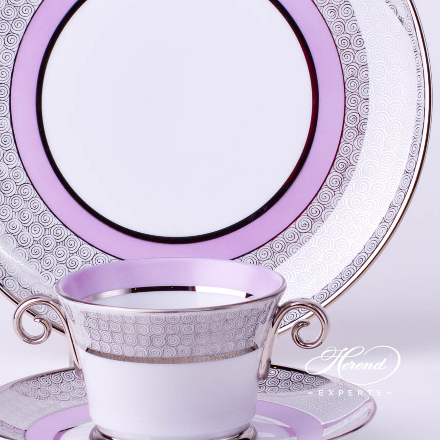 Mini Tea / Coffee Set 4919-0-00 ORIENTL-PT Orient Lilac with Platinum decor. Herend porcelain tableware. Hand painted