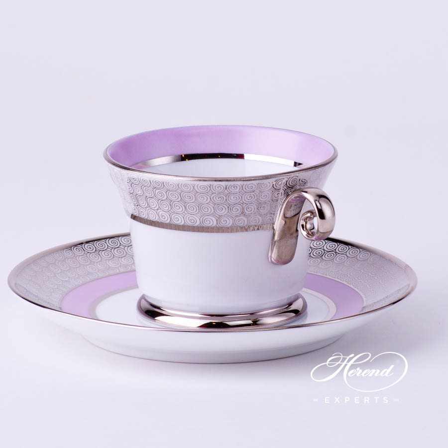 Universal Cup with Saucer 4919-0-00 ORIENTL-PT Orient Lilac with Platinum decor. Herend porcelain tableware. Hand painted
