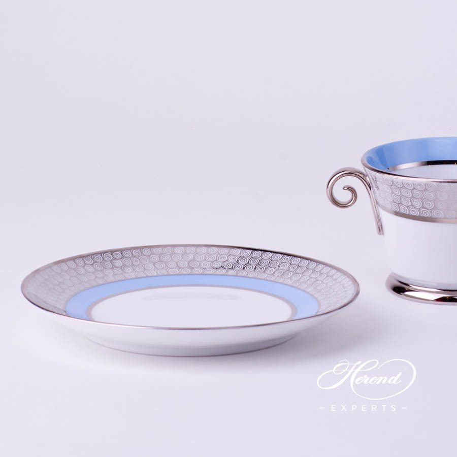 Universal Cup with Saucer 4919-0-00 ORIENTB-PT Orient Blue with Platinum decor. Herend porcelain tableware. Hand painted