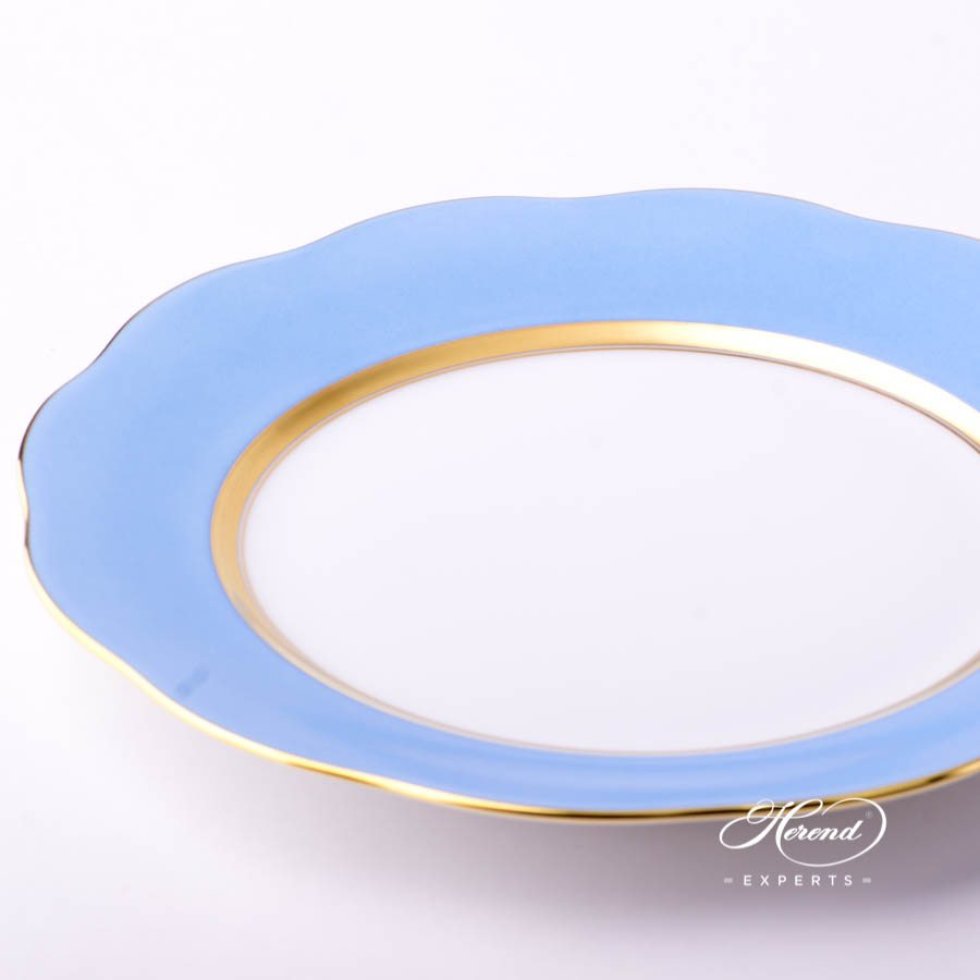 Dessert Plate 20517-0-00 CB1 Light Blue monochrome decor. Herend porcelain tableware. Hand painted