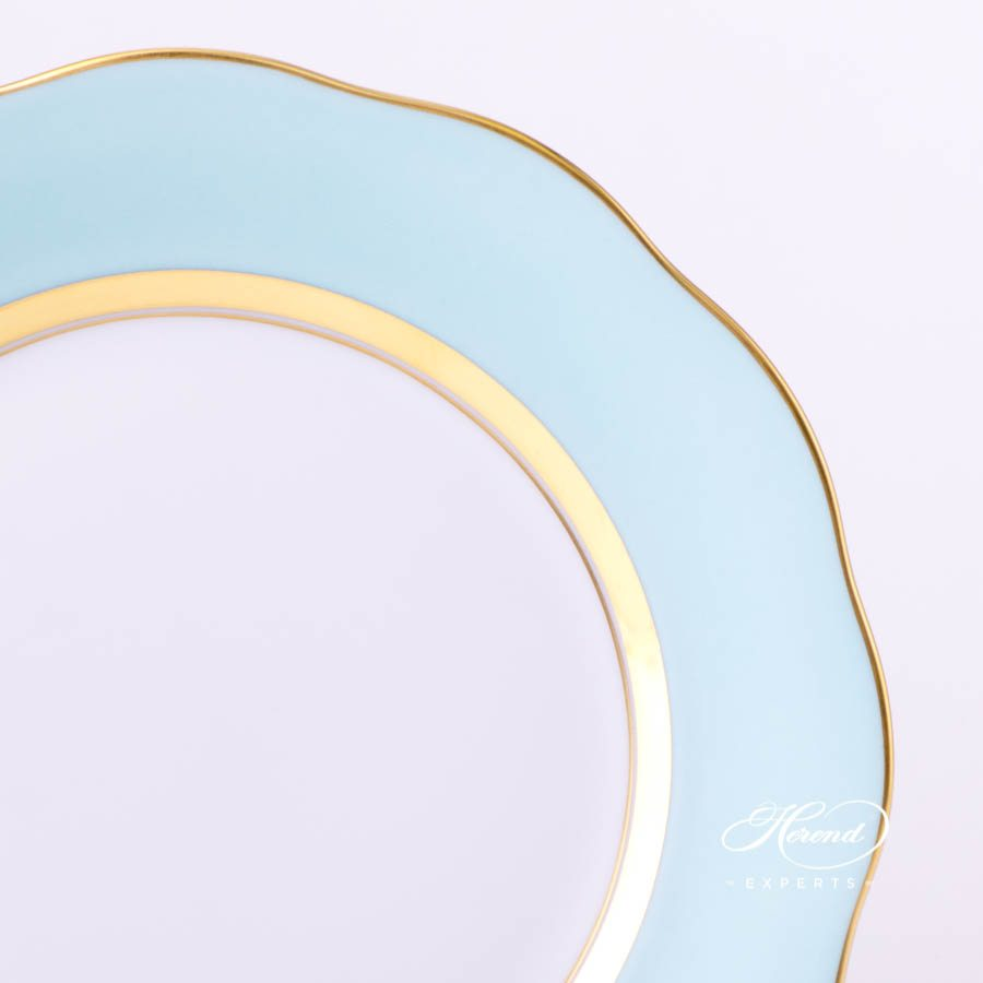 Dessert Plate 20517-0-00 CTQ1 Turquoise monochrome decor. Herend porcelain tableware. Handpainted